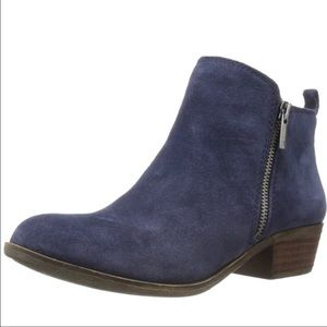 Lucky Brand Basel blue suede double zip bootie